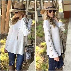 Cream button trim sleeve ribbed knit tunic